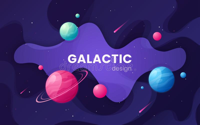 Bakgrund för yttre rymd för tecknad filmgalax futuristisk, design, artwor royaltyfri illustrationer