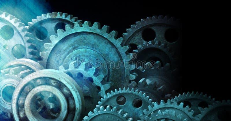 bakgrund förser med kuggar industriella kugghjul royaltyfri foto