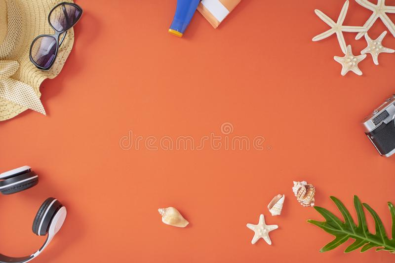 Bakgrund f?r begrepp f?r semester f?r sommarferie orange royaltyfria bilder