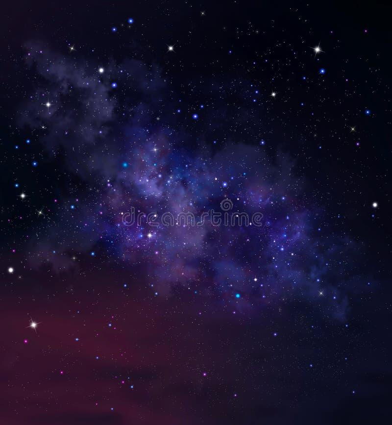 Bakgrund f?r djupt utrymme med nebulosan och stj?rnor sky f?r natt f?r abstraktionillustrationblixt royaltyfri illustrationer