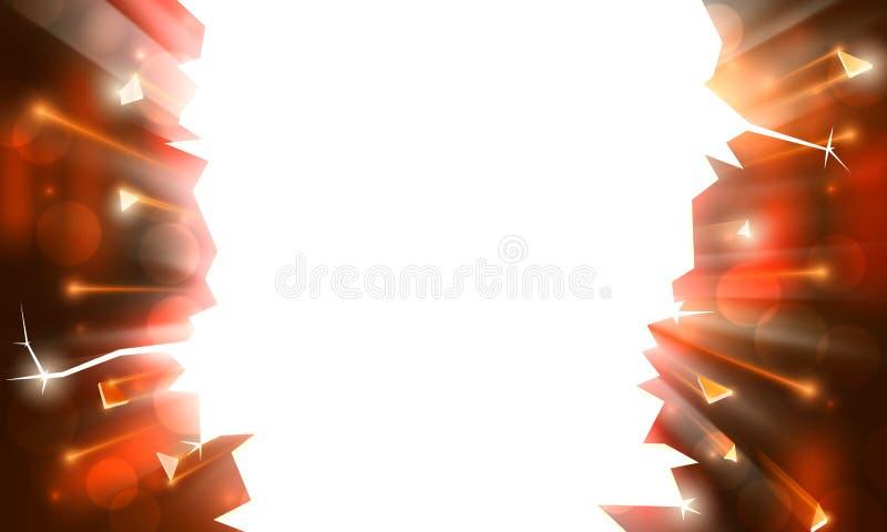 Bakgrund f?r ett explosivt parti, ljus ram med gnistor Str?lar av ljus, bokeh mousserar p? bakgrund av ett genombrott stock illustrationer