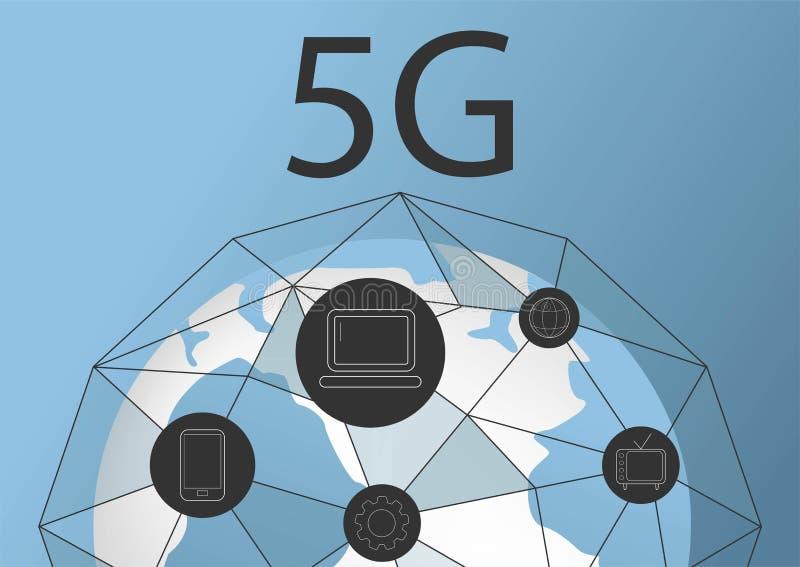 Bakgrund f?r internetuppkoppling 5G f?r vektor abstrakt ny tr?dl?s Snabbt n?tverk f?r globalt n?tverk symbol 5g Begrepp i blått vektor illustrationer