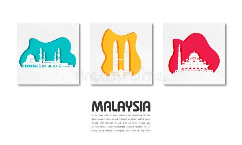 Bakgrund f?r lopp och f?r resa f?r Malaysia gr?nsm?rke global pappers- som f?r delstiker f?r design den trevliga mallen som anv?n royaltyfri illustrationer