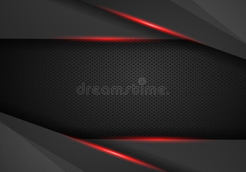 Bakgrund f?r mall f?r design f?r tech f?r abstrakt metallisk r?d svart ramorientering modern stock illustrationer