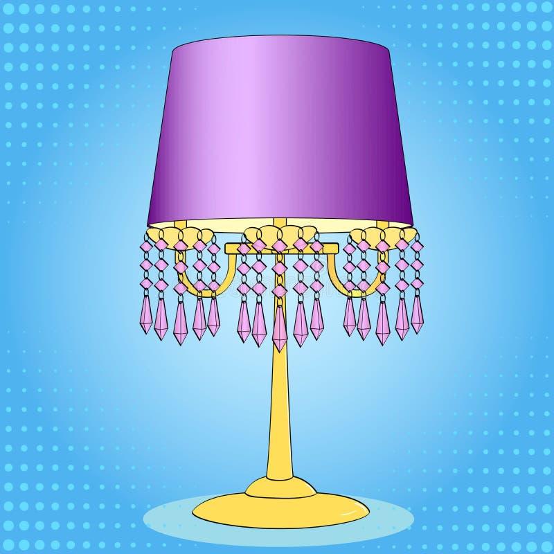 Bakgrund f?r popkonst Inre objekt, tabelllampa Exklusivt ljus raster vektor illustrationer