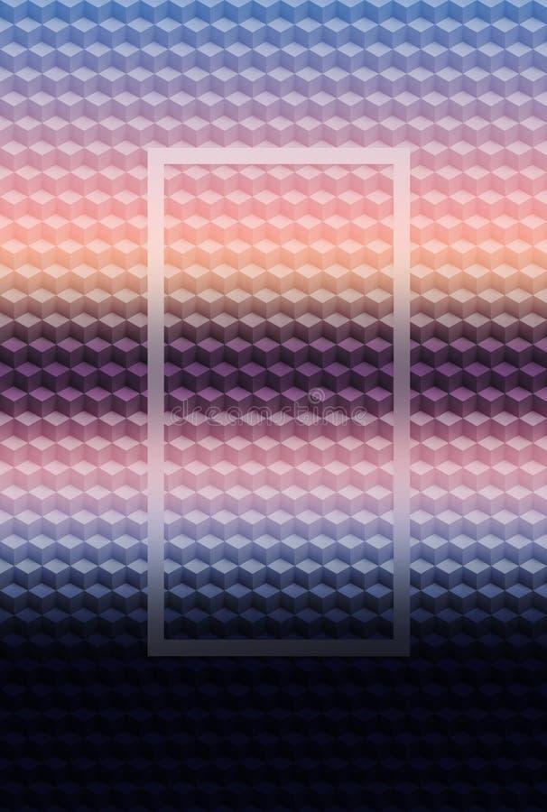 Bakgrund f?r purpurf?rgad rosa geometrisk modell 3D f?r kub abstrakt, mosaikmall royaltyfri illustrationer