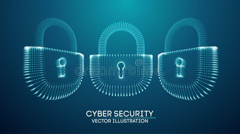 Bakgrund f?r s?kerhet f?r Coputer internetcyber Brotts- vektorillustration f?r Cyber digitalt l?sa vektor illustrationer