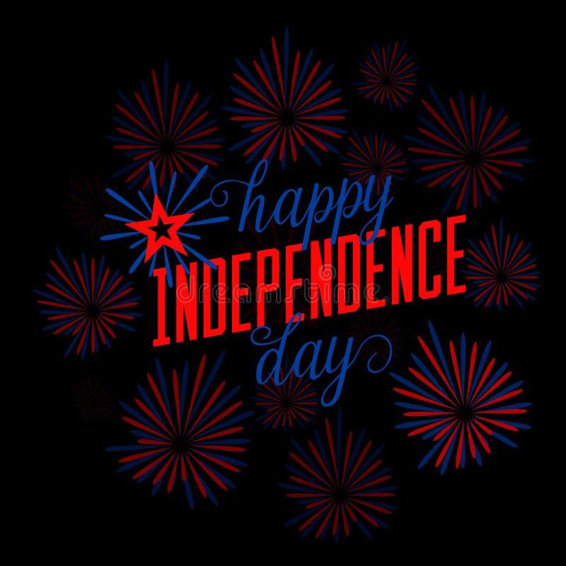bakgrund fjärde juli Gratulationvykort Kort för USA lyckligt självständighetsdagenhälsning Vektorillustration med vektor illustrationer