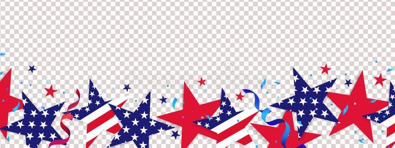 bakgrund fj?rde juli 4th Juli semestrar den långa horisontalgränsen stock illustrationer