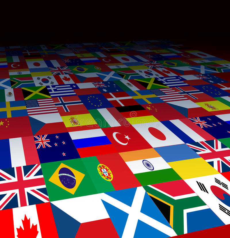 bakgrund flags världen stock illustrationer