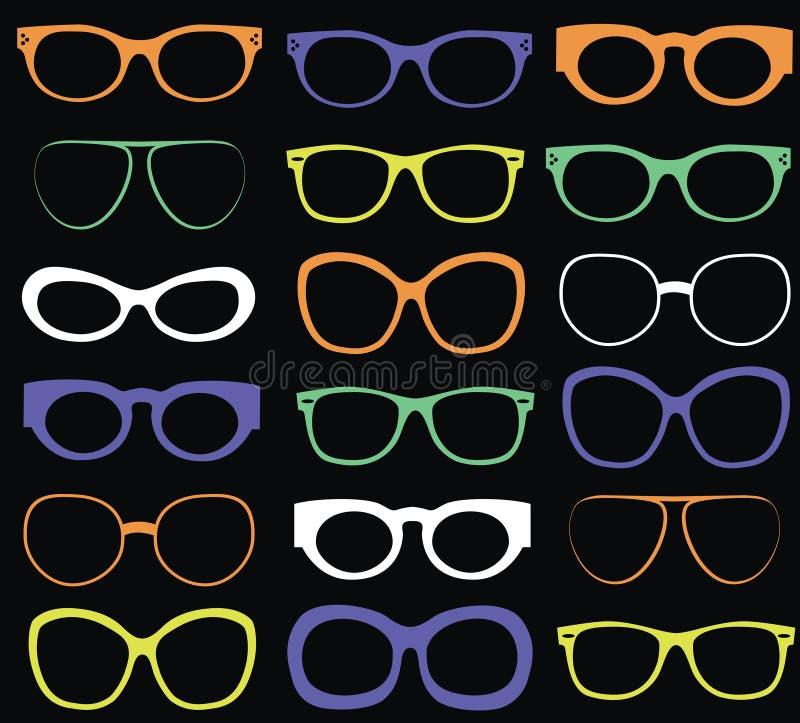 Bakgrund från färgrik solglasögon stock illustrationer