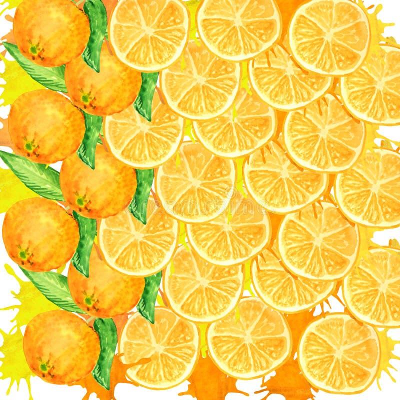 Bakgrund från runda orange skivor med saftiga färgstänk stock illustrationer