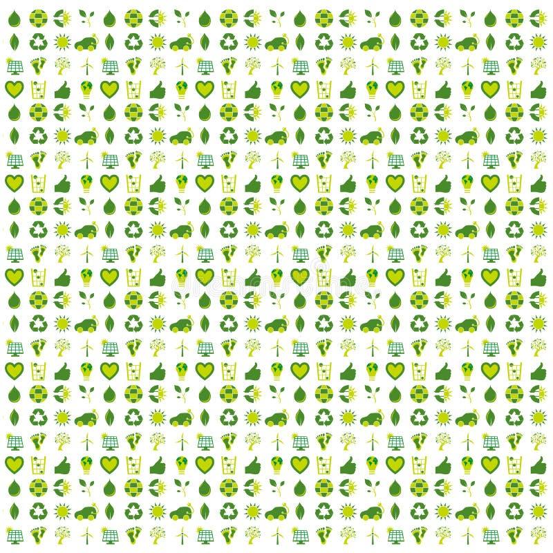 Bakgrund fyllde med bio eco och miljö- symboler och symboen arkivbilder