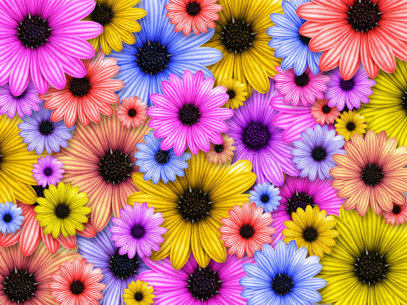 bakgrund gjorda färgade blommor royaltyfri illustrationer