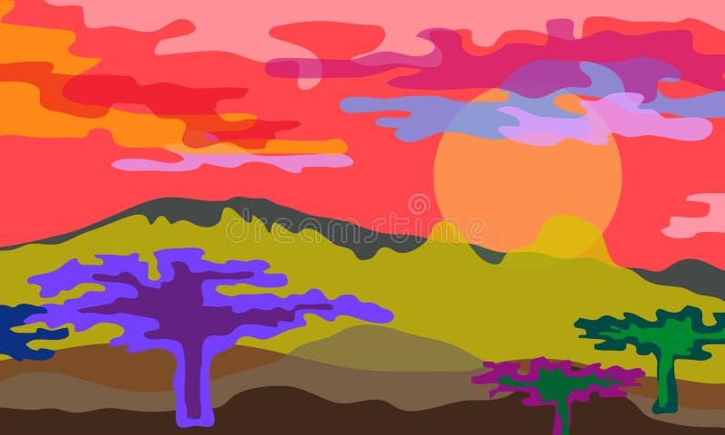 bakgrund gloden savannatreen för liggande en också vektor för coreldrawillustration stock illustrationer