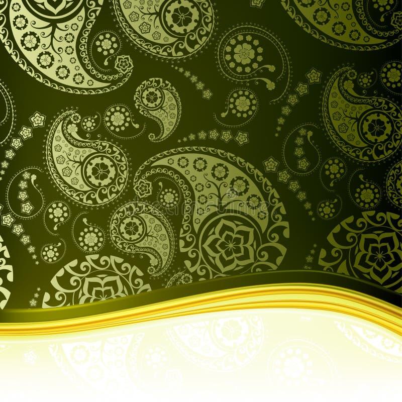 bakgrund gröna paisley royaltyfri illustrationer