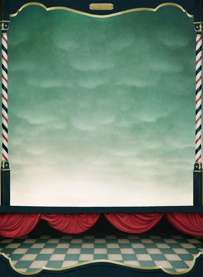bakgrund hänger upp gardiner rött trä för ram stock illustrationer