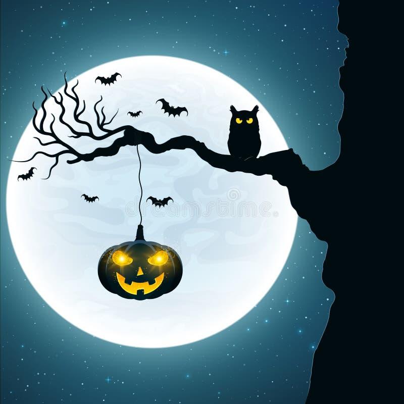 bakgrund halloween Svart uggla på trädet Pumpa med glödande gula ögon Slagträn flyger mot bakgrunden av den fulla mu stock illustrationer