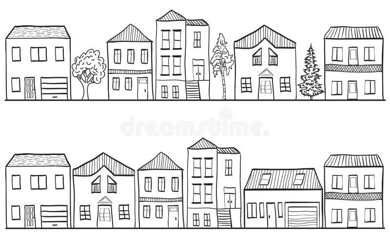bakgrund houses illustrationtrees vektor illustrationer