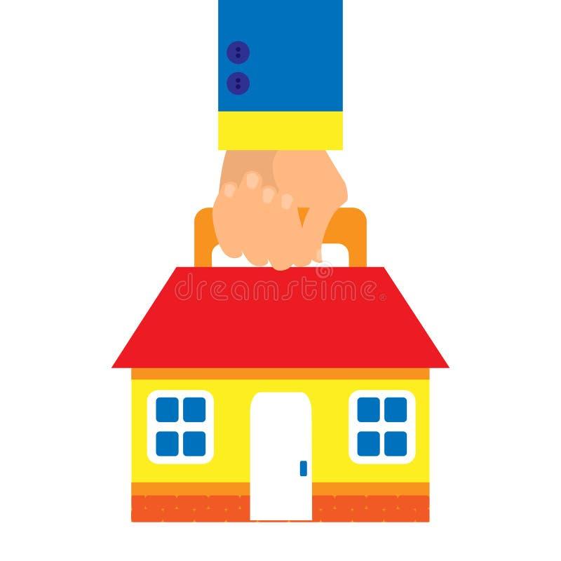 Bakgrund i en plan stil med en hand som bär ett hus på en vit bakgrund Affärsidéhus royaltyfri illustrationer