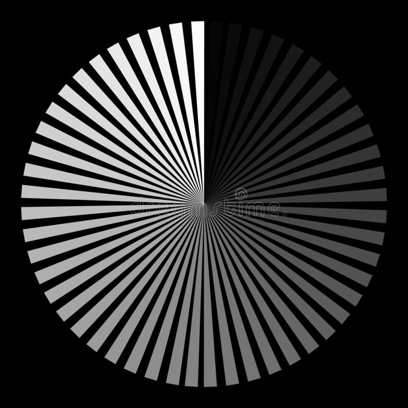 Bakgrund i form av en vit boll av att röra sig i spiral för strålar royaltyfri illustrationer