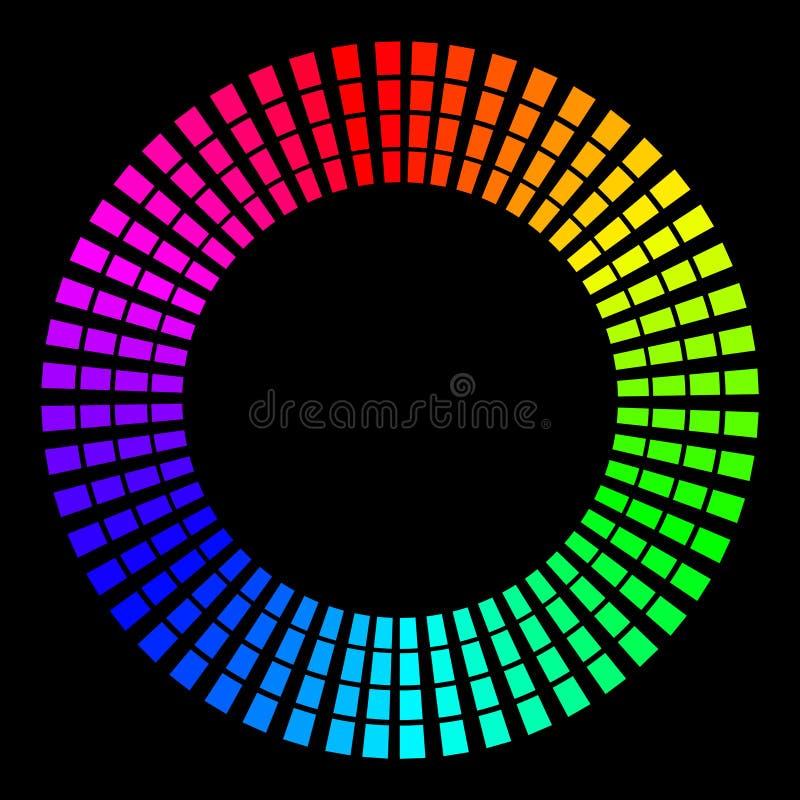 Bakgrund i form av kulöra strålar i form av en cirkel på en svart Vektorillustration för rengöringsdukdesign vektor illustrationer