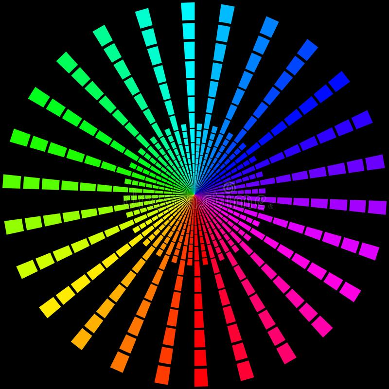 Bakgrund i form av kulöra strålar i form av en cirkel på en svart royaltyfri illustrationer