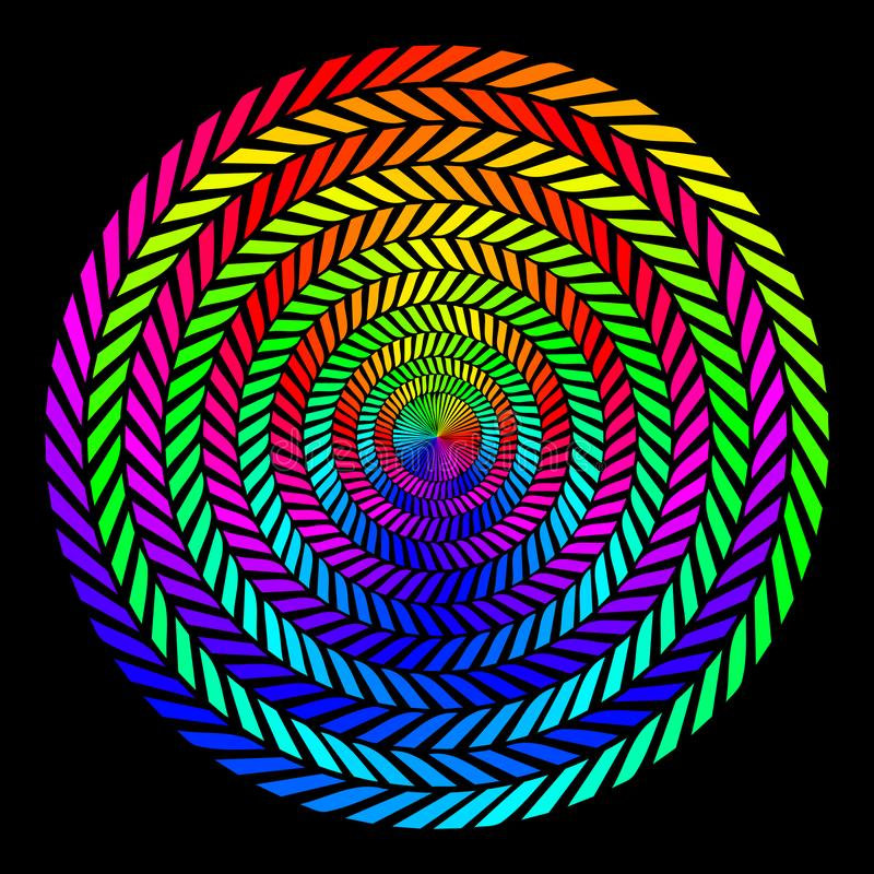 Bakgrund i form av vridna spiral av kulöra strålar på en svart bakgrund Vektorillustration för rengöringsdukdesign stock illustrationer