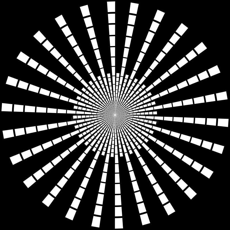 Bakgrund i formen av vita strålar i form av en cirkel på en svart royaltyfri illustrationer