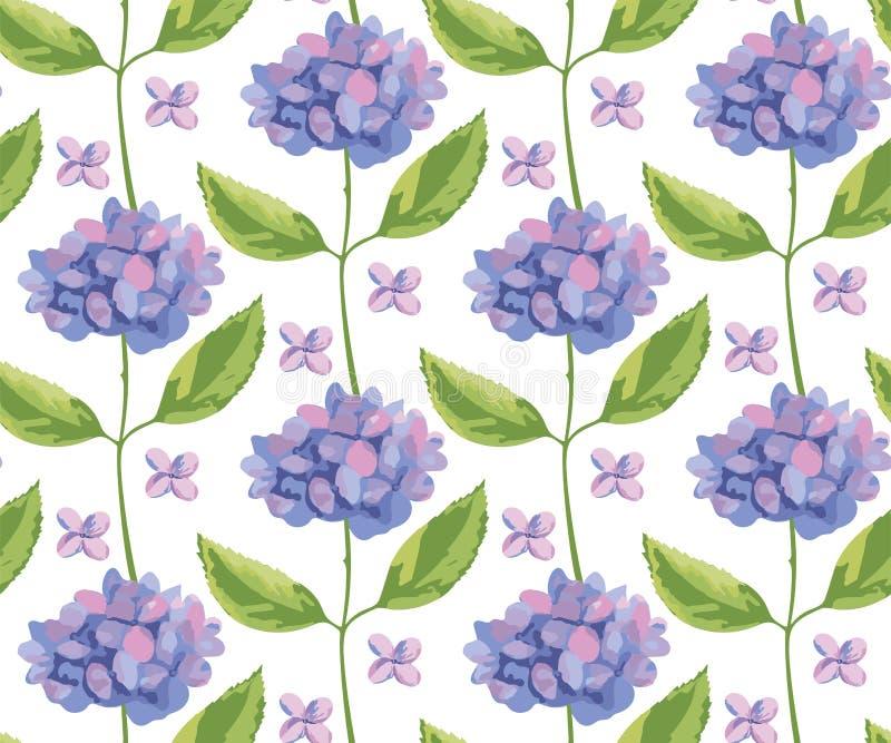 Bakgrund i japanska format Sömlöst mönster för Vector Hydrangea round bouquet Beläggningsvektor stock illustrationer