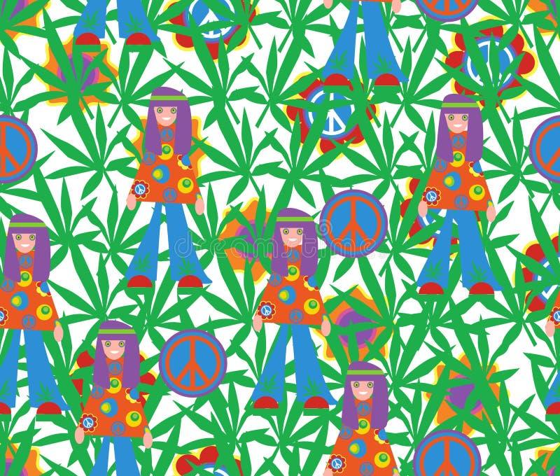 Bakgrund i stilen av 60x psychedelic seamless för modell Högt royaltyfri illustrationer