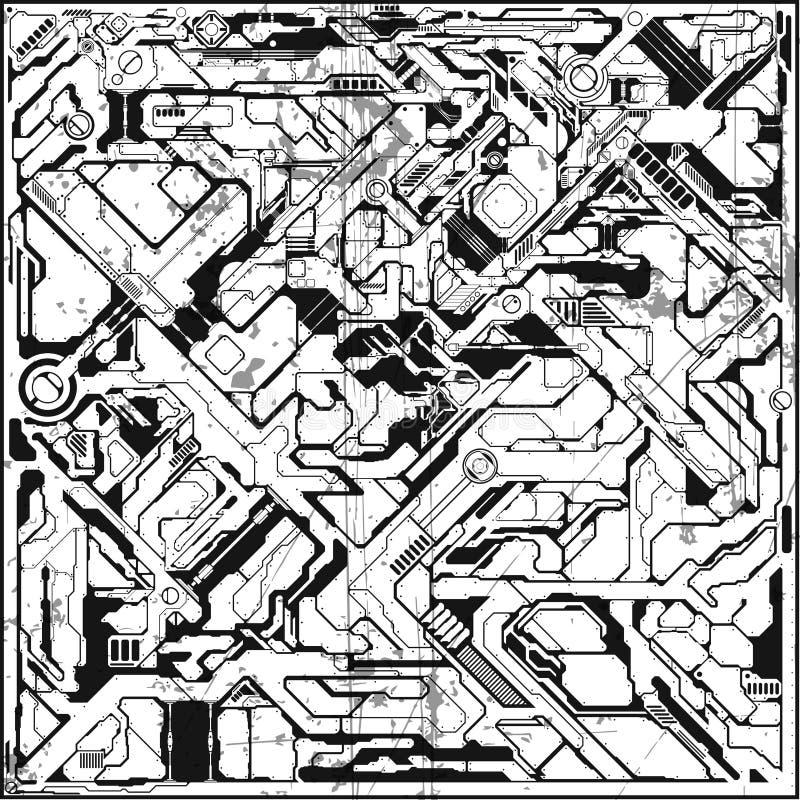 Bakgrund i tekniskt avancerad stil Den abstrakt vektorn mönstrar arkivbilder
