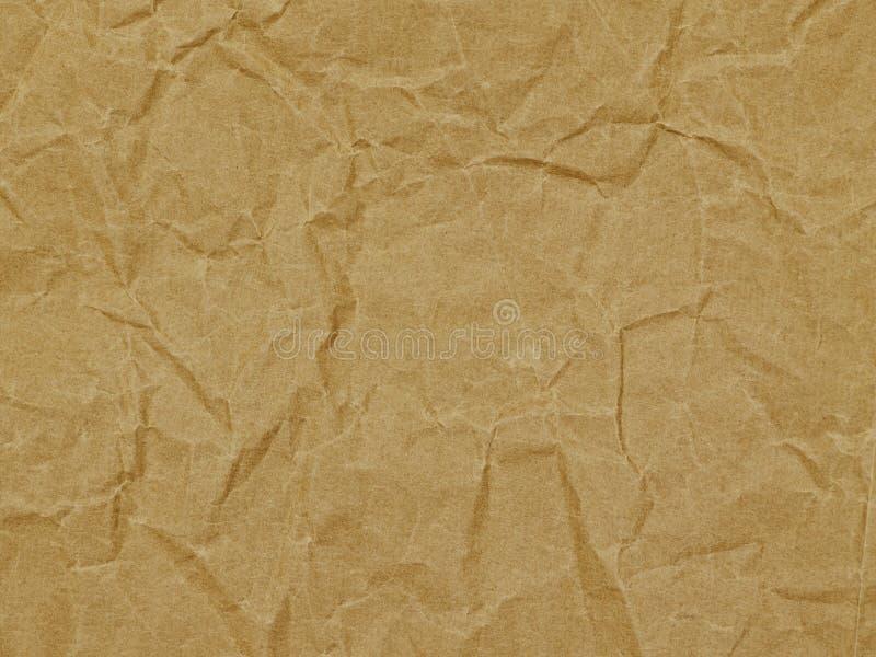 Bakgrund inpackningspapper, textur, brunt, skrynkla royaltyfri fotografi
