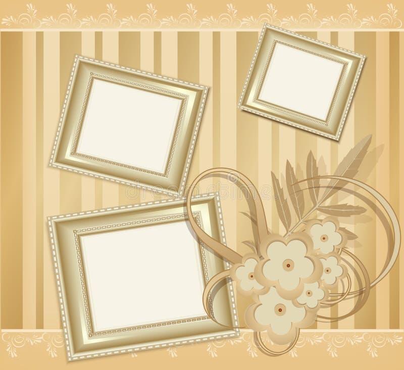 bakgrund inramniner vektorn för foto tre stock illustrationer