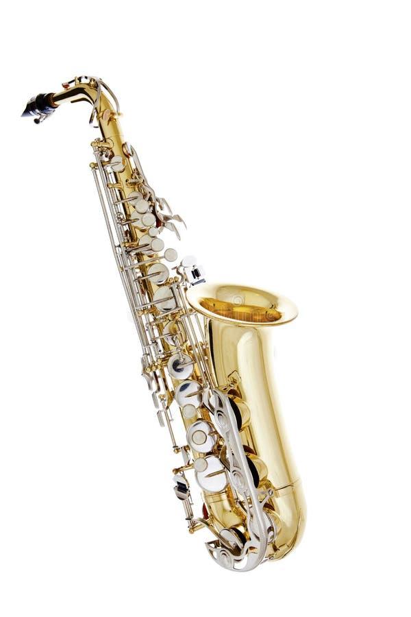 bakgrund isolerad blank white för saxofon royaltyfri bild