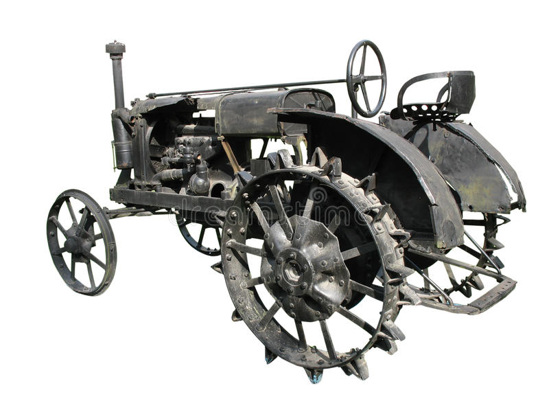 bakgrund isolerad gammal over traktorwhite arkivbild