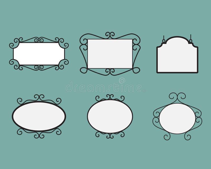 bakgrund isolerad name etikettswhite Vektorskylt spegel stock illustrationer