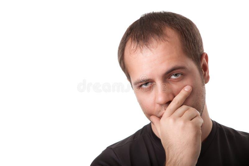 bakgrund isolerad tänkande white för man royaltyfri fotografi
