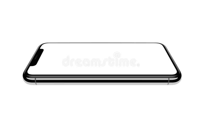 bakgrund isolerad telefonwhite Ny version av den svarta mobiltelefonen stock illustrationer