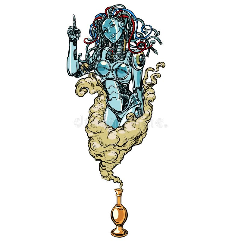 bakgrund isolerad white Kvinnlig robot ande i arabiska sagor av lampan royaltyfri illustrationer