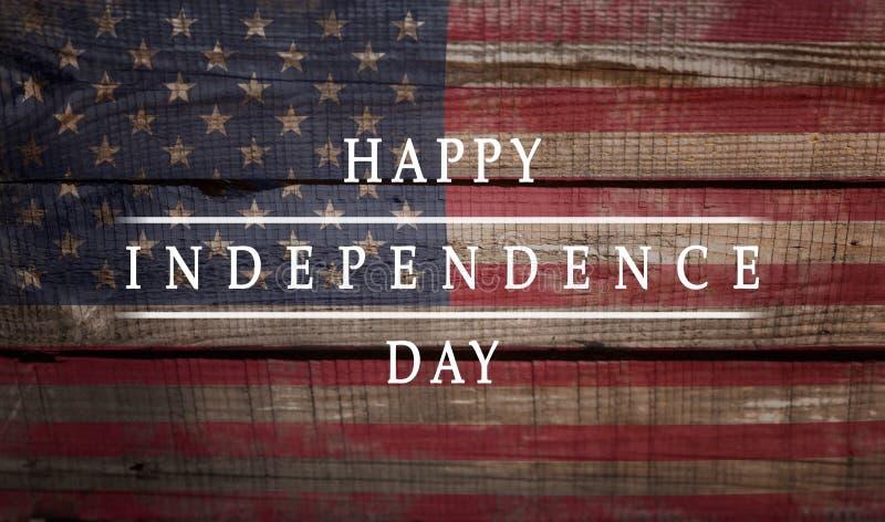 Bakgrund kortnationsflagga av den lyckliga självständighetsdagen för Amerikas förenta staterinskrift royaltyfri bild