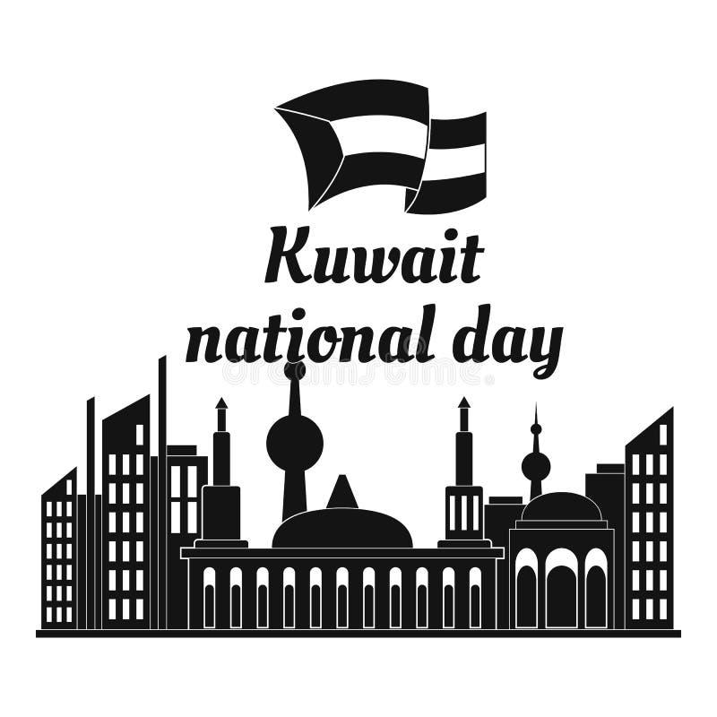Bakgrund Kuwait för nationell dag, enkel stil royaltyfri illustrationer