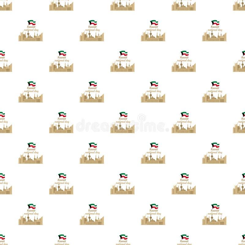 Bakgrund Kuwait för nationell dag, lägenhetstil royaltyfri illustrationer