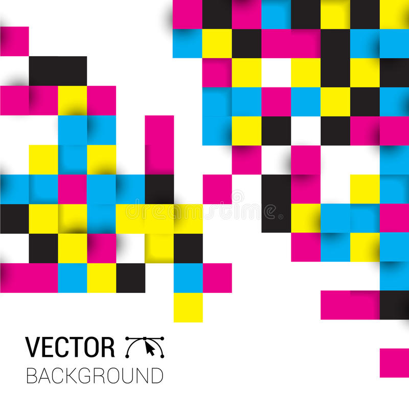 Bakgrund kvadrerar cmyk för full färg Illustration av abstrakt textur med fyrkanter Mönstra designen för banret, affischen, rekla stock illustrationer