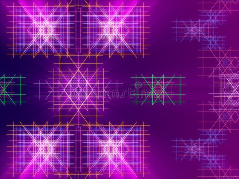 Bakgrund, linjer och ljus för lilor abstrakt royaltyfri illustrationer