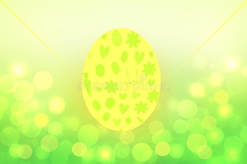 bakgrund lyckliga easter Abstrakt grön gul vårbakgrundstextur med ett stort ägg och suddiga runda bokehljus royaltyfri illustrationer