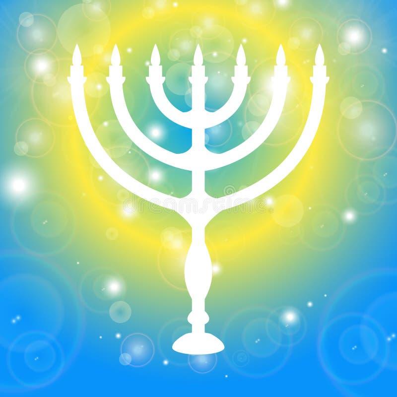 bakgrund lyckliga hanukkah Ljusstake - Chanukkah Stearinljus på en svart bakgrund med ljusa effekter också vektor för coreldrawil royaltyfri illustrationer