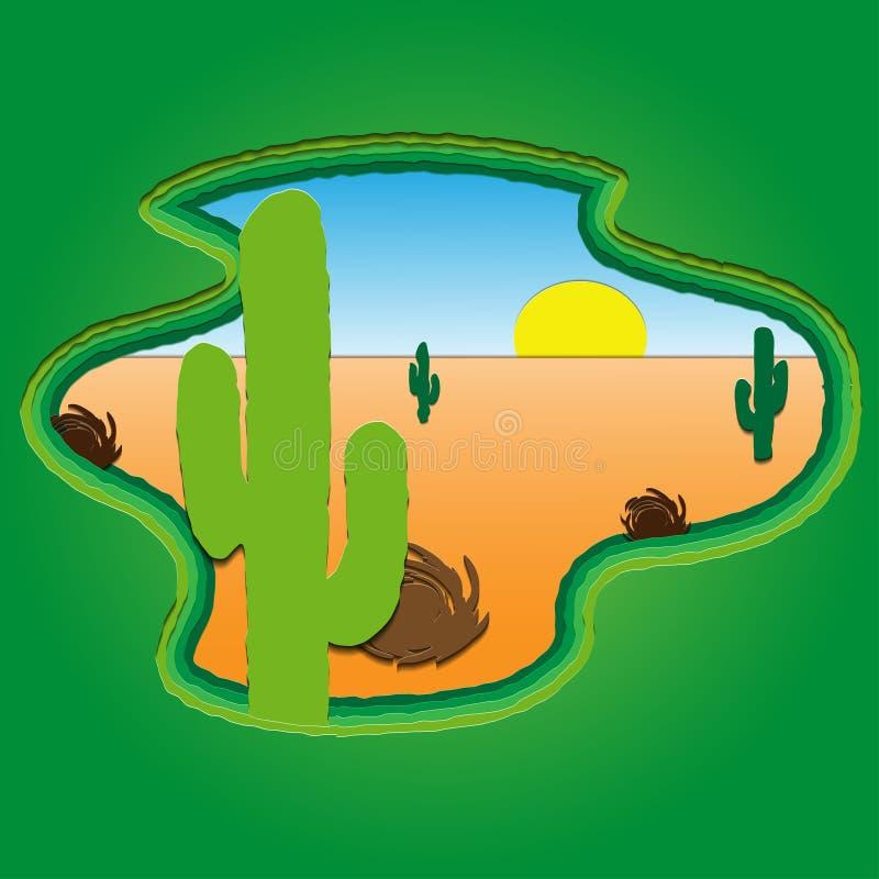 Bakgrund med öknen, kaktuns och solen, pappers- konststil vektor illustrationer