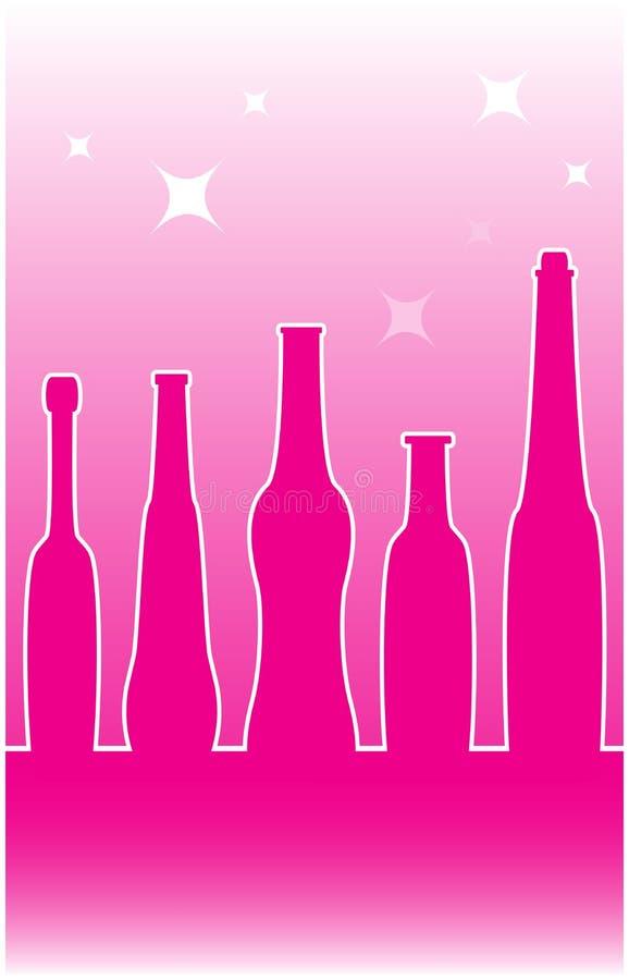 Bakgrund med alkohol buteljerar konturn stock illustrationer