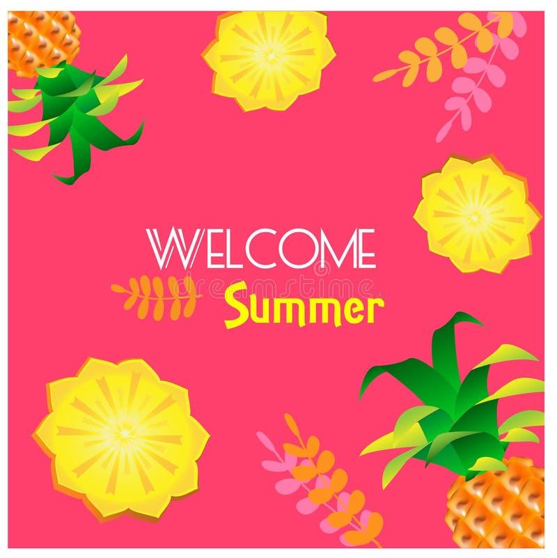 Bakgrund med ananas och sidor royaltyfri illustrationer